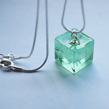 Dandelion Necklace Tiny Green Cube Make a Wish Ice Green Aqua Fluffy Seeds Real Flower Small Cute Summer Resin Pendant