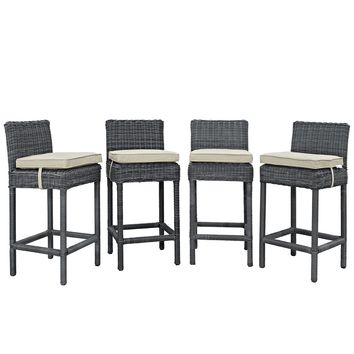 Summon Bar Stool Outdoor Patio Sunbrella® Set of 4 Antique Canvas Beige EEI-2198-GRY-BEI-SET