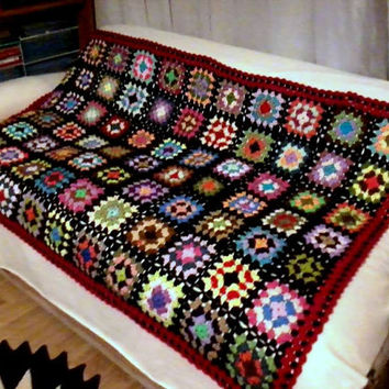 Hand Crochet Afghan Blanket Granny Square Throw Lap Warmer Baby Women Men Home and Living Crochet Kaleidoscope Granny Square Ready to Ship