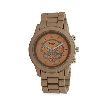 Taupe Silicone Coated Metal Fashion Watch