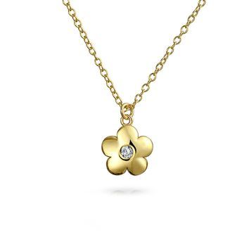 Flower Daisy Pendant CZ 14K Gold Plated 925 Sterling Silver Necklace