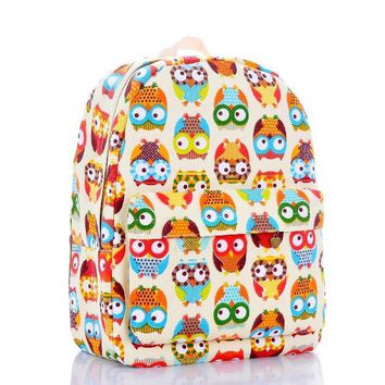 Day-First™ Cute Rainbow Owl Canvas Lightweight College Backpack