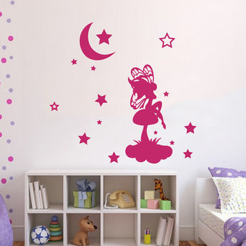 Wall Decals Vinyl Sticker Decal for Kids Nursery Bedroom  Fairy Tinkerbell Moon Stars Home Decor Art Murals Girl Room MM34