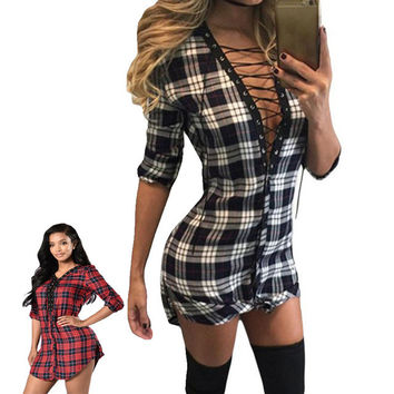 2017 Autumn Office Dress Half Sleeve V-Neck Hollow Out casual Vintage Black White Lace-up Front Plaid Shirt Party Dress Vestidos