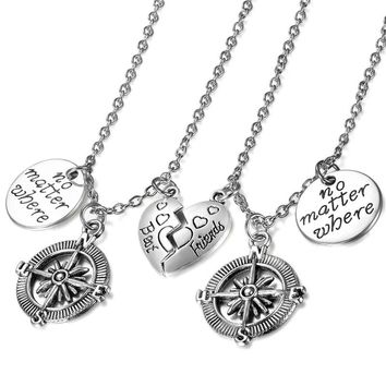 SHIPS FROM USA Jewelry Helm Pendant Heart Necklace For Women Mother & Daughter Lovers Stainless Steel Fashion Necklace