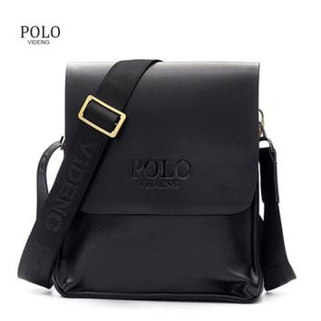 Classical Design Polo Famous Brand Men Messenger Bags PU Leather Men's Crossbody Handbags