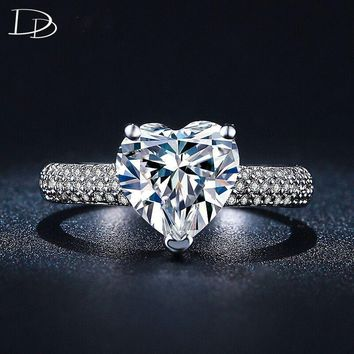 Big heart 3 Carat  cz diamond jewelry engagement wedding rings For women white gold filled bague luxury bijoux accessories DD048