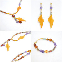 Autumn Amethyst Versatile Jewelry Set Methching Necklace Bracelet and Earrings