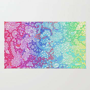 Fantasy Garden Rainbow Doodle Area & Throw Rug by micklyn