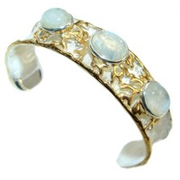 SilverRushStyle.com - Luxury Design Real Treasure Fire Moonstone Gold plated over Sterling Silver handmade in Italy Bracelet