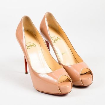 DCCK Christian Louboutin Mauve Patent Peep Toe  New Very Prive  Heels