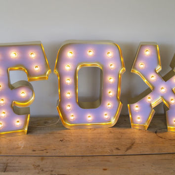 FOX with GOLD edging and Holywood Lights: Marquee Lights by Carnival Letters