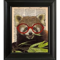 Red PANDA Bear Wearing Glasses ORIGINAL Art Hand Painted Mixed Media Print Poster Illustration on Antique 1930's Dictionary Book Page 8x10