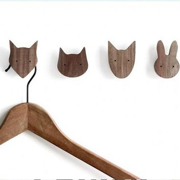 Newest design Boys Girls Kids Room Wooden fox Pillow On Wall decorative Behind Door In Children's Room hanger hook