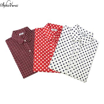 Fashion Polka Dot Blouse Long Sleeve Shirt Women's Blouses Women's Shirts Cotton Red Dot Top Blouses Women's Blouses Plus Size