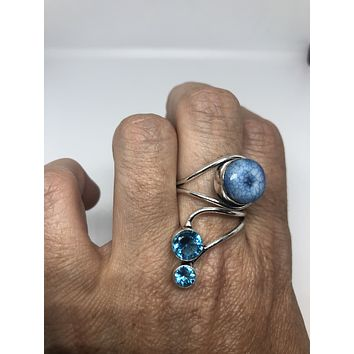 Vintage Blue Genuine Chalcedony and Blue Topaz 2 in Adjustable ring