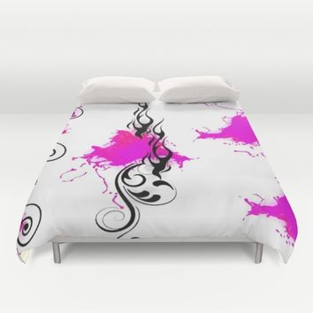 HOT PINK FLAMES Duvet Cover by violajohnsonriley