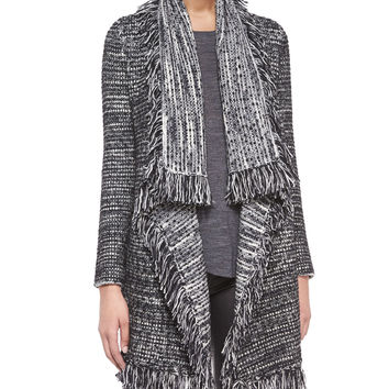 Frayed-Edge Textured Cardigan, Black/White, Size: