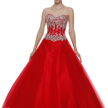 Studded Corset Bodice Long Red Quinceanera Princess Gown