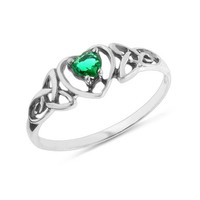 1/5 Carat Emerald Celtic Trinity Knot Heart Ring in Sterling Silver