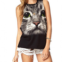 Black Animal Printed Muscle Tee