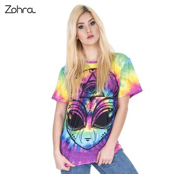 Zohra New Arrival Women Short Sleeve t shirt trippy alien