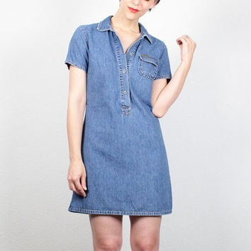 Vintage 90s Dress Denim Dress Mini Dress 1990s Dress Preppy Normcore Dress Chambray Shirt Dress Soft Grunge Dress Calvin Klein Dress S Small