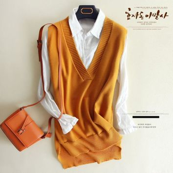 zocept Spring Women's Knitted Wool Big V Neck Vest Long Tail New Match Female Sweater Outerwear Women's Sleeveless Pullover