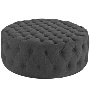 Amour Upholstered Fabric Ottoman Gray EEI-2225-GRY