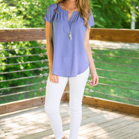 Can You Say Easy Blouse, Periwinkle