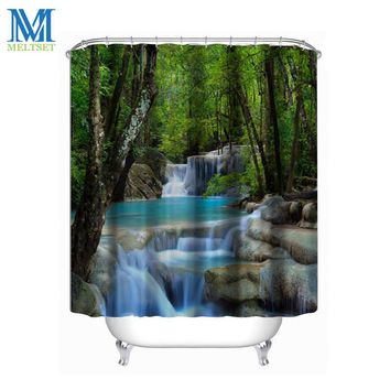 180X200CM Waterfall Scenery Waterproof Shower Curtain Bathroom Products Creative Polyester Bath Curtain