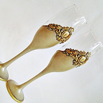 Champagne Flutes, Wine Glasses, Wedding Toast, Wedding Glasses, Hand Painted, Set of 2,  platinum & antique gold