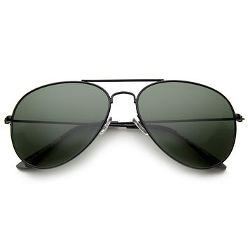 Classic Crossbar Full Metal Frame Green Lens Aviator Sunglasses A293