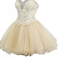 Sweetheart Mini Tulle Beading Appliques Homecoming Dress