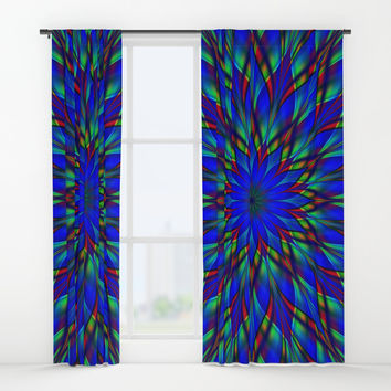 Stained glass flower mandala Window Curtains by Natalia Bykova