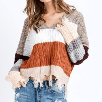 Women's Color Block Distressed V-Neck Sweater