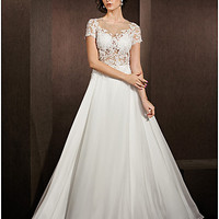 A-line Jewel Floor-length Lace And Satin Chiffon Wedding Dress (1483961)