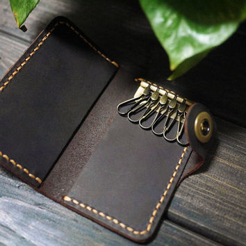 Slim Leather Key Holder / handmade Key Case / key chain/  /Leather Key Wallet in Black /Best Gift For Christmas/With Initial