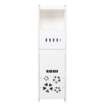 3-tier Bathroom Storage Cabinet with Garbage Can 25*25*80CM White