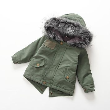 Girls Down Coats Amy Green 2017 Winter Jackets Boys Fur Hooded Parkas Children's Clothing Kids Thick Thermal Outwear Outdoor