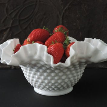 Fenton Milk Glass Bowl Mid Century White Milk Glass Hobnail Vase Wedding Decor