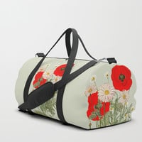 A country garden flower bouquet -poppies and daisies Duffle Bag by anipani