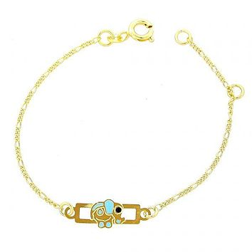 Gold Layered 03.02.0015.06 ID Bracelet, Elephant Design, Golden Tone
