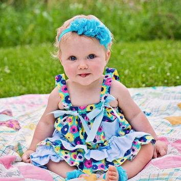 #02 Baby Ruffle Swing Set Sun Suit Floral & Light Blue