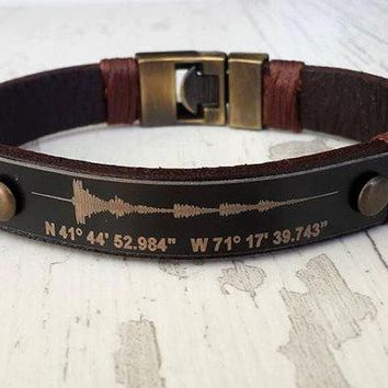 Soundwave Bracelet ,Coordinate Bracelet for Him, Personalized Bracelet leather bracelet, Male Bracelet, Custom Bracelet, Graduation Gift,