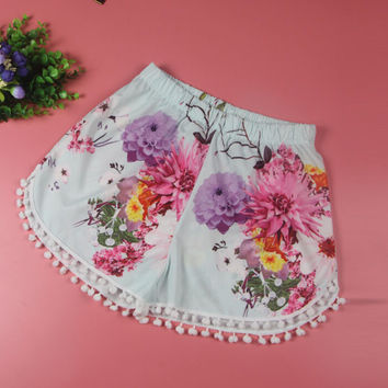 Floral Print Elastic Shorts with Pompom Trim