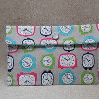 Fun Clock Themed Fabric Pouch