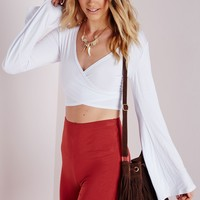 BELL SLEEVE WRAP OVER CROP TOP WHITE