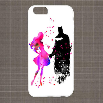 Marvel Heroes Watercolor BATMAN and GIRL iPhone 4/4S, 5/5S, 5C Series Hard Plastic Case