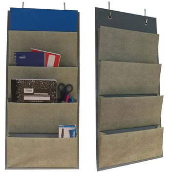 Evelots Set of 2 -  Over the Door Fabric Office Closet Dorm Organizers, Gray